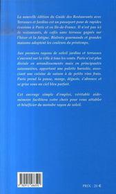Guide Des Restaurants Avec Terrasses Et Jardins De Paris Ile-De-France - 4ème de couverture - Format classique