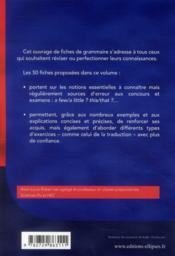 L'essentiel de la grammaire anglaise en 50 fiches - 4ème de couverture - Format classique