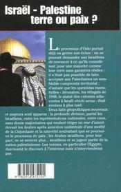 Israel Palestine ; Terre Ou Paix - 4ème de couverture - Format classique