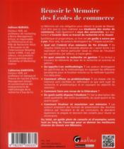 Réussir le mémoire des écoles de commerce - 4ème de couverture - Format classique