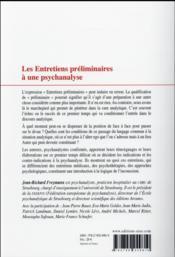 Les entretiens préliminaires à une psychanalyse - 4ème de couverture - Format classique