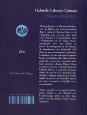 Pleines de grace - 4ème de couverture - Format classique