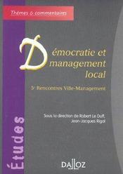 Democratie et management local. 5e rencontres ville-management - 1ere ed. - Intérieur - Format classique