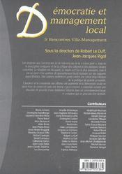 Democratie et management local. 5e rencontres ville-management - 1ere ed. - 4ème de couverture - Format classique