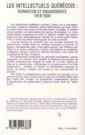 Les Intellectuels Quebecois : Formation Et Engagements, 1919-1939 - 4ème de couverture - Format classique