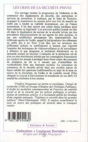 Les défis de la sécurité privée ; protection et surveillance dans la France d'aujourd'hui - 4ème de couverture - Format classique
