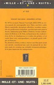 Dernières lettres - 4ème de couverture - Format classique