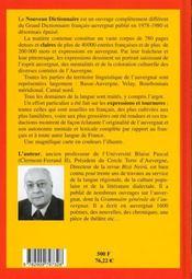 Nouveau Dictionnaire General Francais Auvergnat - 4ème de couverture - Format classique
