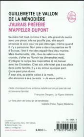 J'aurais preféré m'appeler Dupont - 4ème de couverture - Format classique