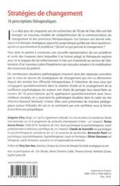 Stratégies de changement ; 16 prescriptions thérapeutiques - 4ème de couverture - Format classique