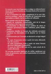 In Wort Und Schrift L'Expression Ecrite En Allemand - 4ème de couverture - Format classique