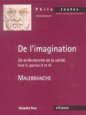 De L'Imagination De La Recherche De La Verite Livre Ii Parties Ii Et Iii Malebranche - Intérieur - Format classique