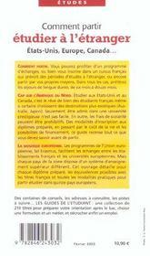 Comment partir etudier a l'etranger (edition 2003) - 4ème de couverture - Format classique
