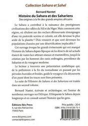 Histoire du Sahara et des sahariens - 4ème de couverture - Format classique