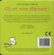Où est mon éléphant ? - 4ème de couverture - Format classique