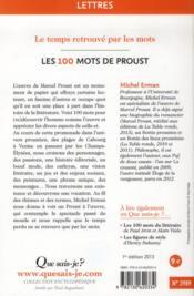 Les 100 mots de Proust - 4ème de couverture - Format classique