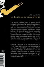 La légende de Victor Hugo - 4ème de couverture - Format classique