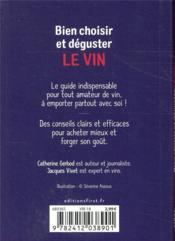 Bien choisir et déguster le vin - 4ème de couverture - Format classique