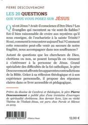 Les 20 questions que vous vous posez sur Jésus - 4ème de couverture - Format classique