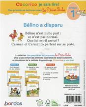 Premières lectures avec les p'tites poules : Bélino a disparu - 4ème de couverture - Format classique