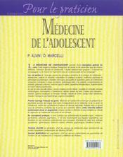 Medecine de l'adolescent (2e édition) - 4ème de couverture - Format classique