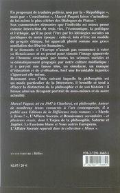 Platon, l'éternel retour de la liberte - 4ème de couverture - Format classique