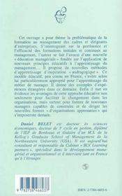 Education Manageriale : Pour Apprendre Et Pratiquer Un Nouveau Metier De Manager - 4ème de couverture - Format classique