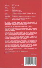 MARY LESTER ; mary lester t.29 ; le passager de la toussaint - 4ème de couverture - Format classique