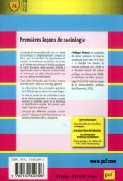 Premières leçons de sociologie (4e édition) - 4ème de couverture - Format classique