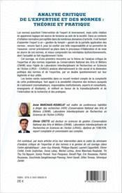 Analyse critique de l'expertise et des normes : théorie et pratique - Couverture - Format classique