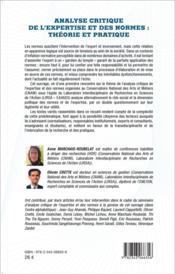 Analyse critique de l'expertise et des normes : théorie et pratique - 4ème de couverture - Format classique