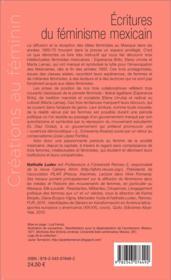 Écritures de féminisme mexicain ; Esperanza Brito, Elena Urrutia, Marta Lamas (1963-1978) - 4ème de couverture - Format classique