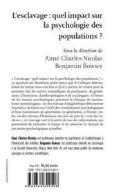 L'esclavage : quel impact sur la psychologie des populations ? - 4ème de couverture - Format classique