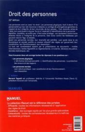 Droit des personnes (22e édition) - 4ème de couverture - Format classique