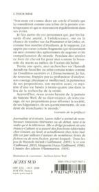 L'insoumise ; Simone Weil - 4ème de couverture - Format classique