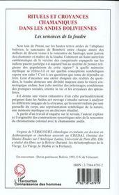 Rituels Et Croyances Chamaniques Dans Les Andes Boliviennes ; Les Semences De La Foudre - 4ème de couverture - Format classique