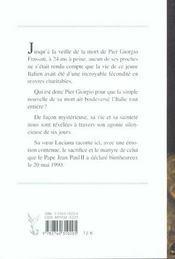 Les Dernieres Heures De Pier Giorgio Frassati - 4ème de couverture - Format classique