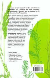 Écologie des eaux courantes - 4ème de couverture - Format classique