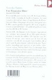 Une française libre ; journal 1939-1945 - 4ème de couverture - Format classique
