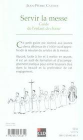 Servir la messe guide de l'enfant de choeur - 4ème de couverture - Format classique