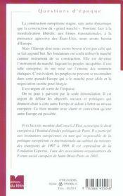 Manifeste Pour Une Autre Europe - 4ème de couverture - Format classique