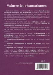 Vaincre les rhumatismes ; par des méthodes naturelles - 4ème de couverture - Format classique