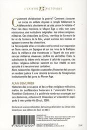 Moines et guerriers ; les ordres religieux militaires au moyen âge - 4ème de couverture - Format classique