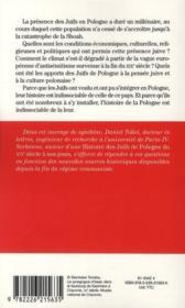 Être juif en Pologne ; mille ans d'histoire : du Moyen-Âge à 1939 - 4ème de couverture - Format classique