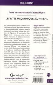 Les rites égyptiens - Couverture - Format classique