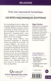 Les rites égyptiens - 4ème de couverture - Format classique