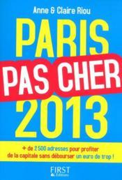 Paris pas cher 2013 - Couverture - Format classique
