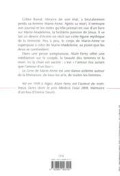 Le livre de Marie-Anne - 4ème de couverture - Format classique