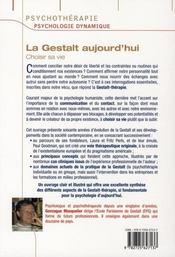 La Gestalt aujourd'hui ; choisir sa vie - 4ème de couverture - Format classique