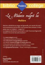Le médecin malgré lui, Molière - 4ème de couverture - Format classique